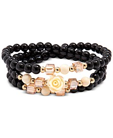 Bead & Flower Multi-Row Stretch Bracelet