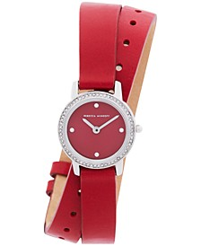 Women's Major Red Leather Strap Watch 22mm