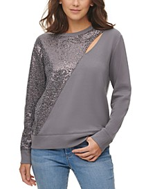 Sequin-Embellished Keyhole Sweater