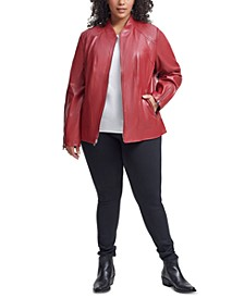 Plus Size Faux-Leather Jacket