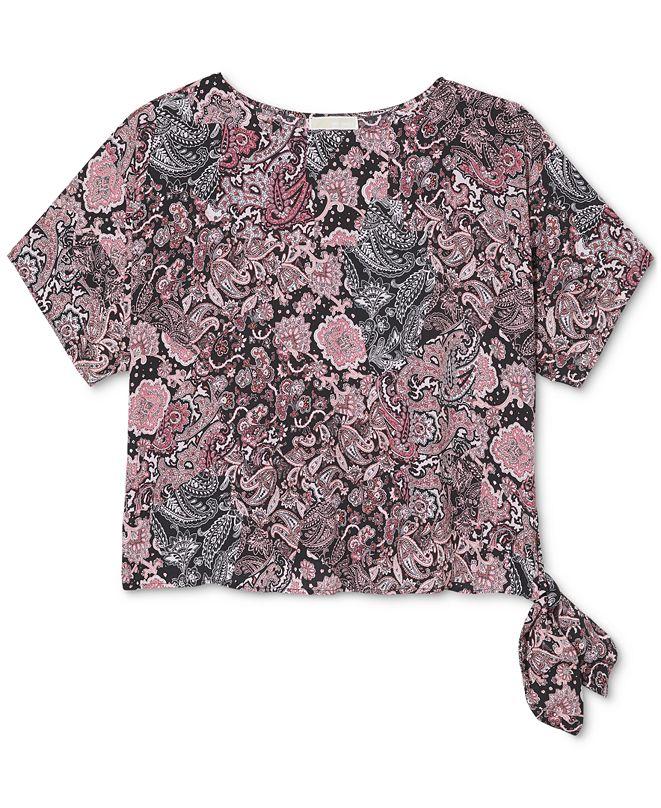 Michael Kors Plus Size Paisley-Print Side-Tie Top
