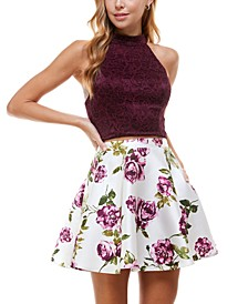 Juniors' Two-Piece Halter Dress