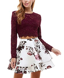 Juniors' Long-Sleeve Top & Two-Layer Skirt
