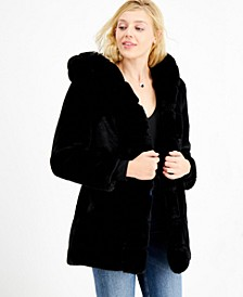 Midnight Hooded Faux-Fur Coat