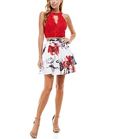 Juniors' Halter Top & Floral Skirt