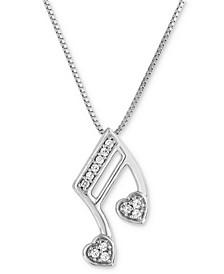 "Diamond Note 18"" Pendant Necklace (1/10 ct. t.w.) in 10k White Gold"