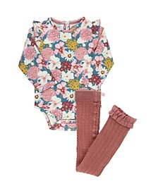 Baby Girls Bodysuit and Cable Tights Set