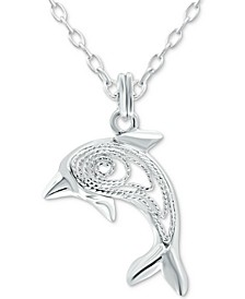 """Dolphin 18"""" Pendant Necklace in Sterling Silver, Created for Macy's"""