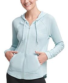 Ruched-Sleeve Zip Hoodie