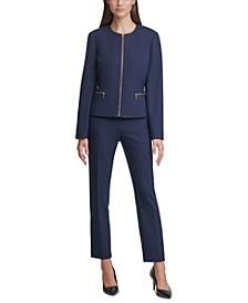 Zipper Jacket & Embellished-Belt Pants
