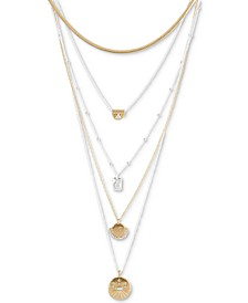"""Two-Tone Crystal & Stone Celestial-Etched Convertible Layered Pendant Necklace, 16"""" + 2"""" extender"""
