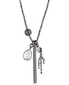 "Hematite-Tone Crystal & Chain 34"" Adjustable Pendant Necklace"
