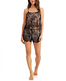 INC Lace Cami & Tap Shorts Pajamas Set, Created for Macy's