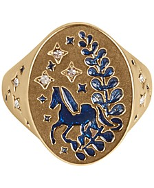 Gold-Tone Crystal Glitter Horse Signet Ring