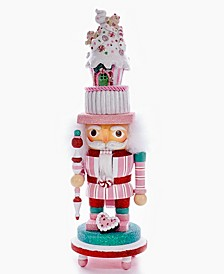 """15"""" Hollywood Nutcracker with Candy House Hat and LED"""