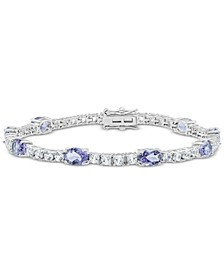 Amethyst (6 ct. t.w.) & White Topaz (4 ct. t.w.) Link Bracelet in Sterling Silver (Also in Blue Topaz, Citrine, Lab-Created Opal, Lab-Created Blue Sapphire, Lab-Created Ruby, & Lab-Created Emerald)