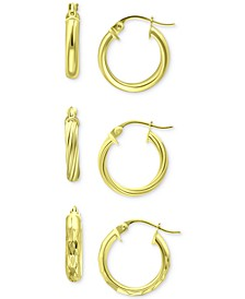 """3-Pc. Set Small Hoop Earrings in Sterling Silver, 0.625"""", Created for Macy's"""
