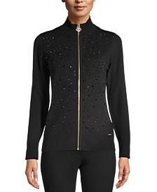 Jeweled Zipper Sweater