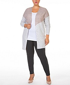 Plus Size Colorblocked Open-Front Melange Cardigan Sweater