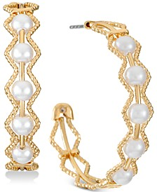 "Gold-Tone Medium Imitation Pearl C-Hoop Earrings, 1.25"", Created for Macy's"