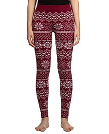 Juniors' Patterned Fleece-Lined Leggings