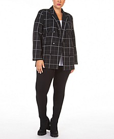 Plus Size Open-Front Textured Button-Front Twill Blazer