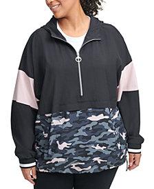 Calvin Klein Performance Plus Size Colorblocked Half-Zip Hoodie