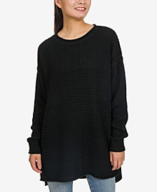 Juniors' Thermal-Stitch Tunic Sweater