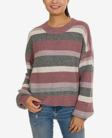 Juniors' Balloon-Sleeve Striped Sweater