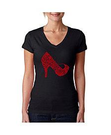 La Pop Art Women's V-Neck T-Shirt with High Heel Word Art