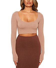 Scoop-Neck Long-Sleeve Crop Top