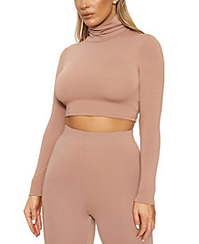 Naked Wardrobe Turtleneck Long-Sleeve Crop Top