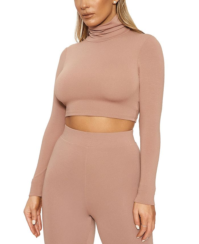 Naked Wardrobe - Turtleneck Long-Sleeve Crop Top