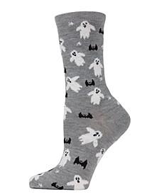 Women's Ghost and Bat Halloween Crew Socks