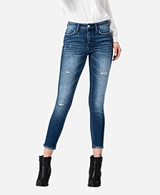 Women's Mid Rise Distressed Skinny Ankle Jeans