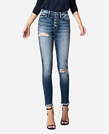 Women's High Rise Button Up Fray Hem Skinny Crop Jeans