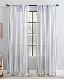 "Retro Stripe Dust Resistant Sheer Curtain Panel, 50"" x 96"""