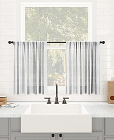 "Retro Stripe Dust Resistant Sheer Cafe Curtain Pair, 50"" x 36"""