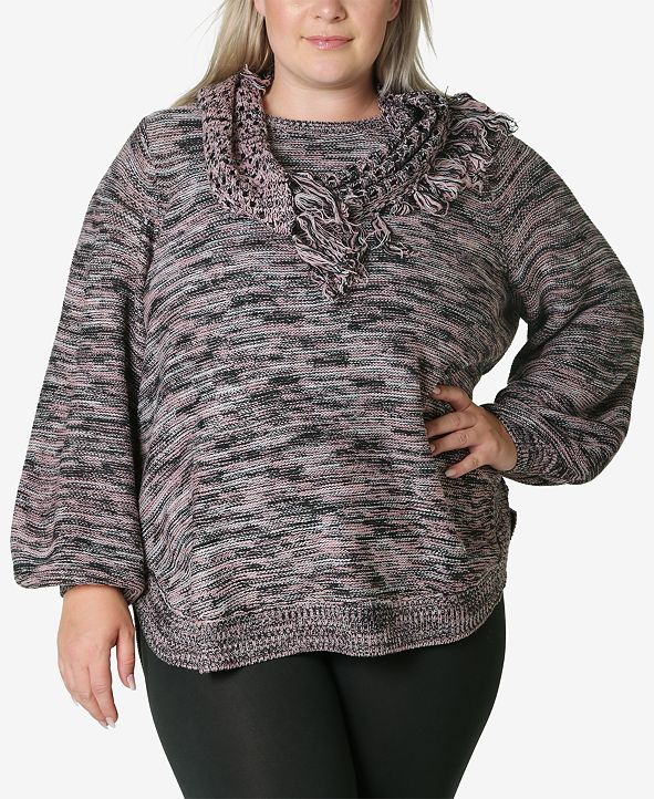 Adrienne Vittadini Women's Plus Size Sweater with Fringe Scarf