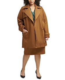 Plus Size Faux-Suede Topper Jacket, Printed Blouse & Faux-Suede Skirt