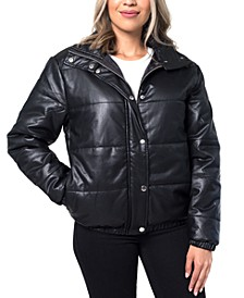 Faux-Leather Puffer Jacket