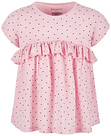 Baby Girls Heart-Print Ruffle Cotton Top, Created for Macy's
