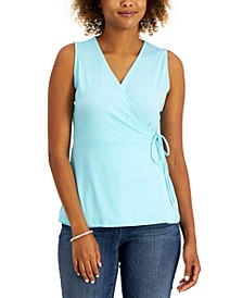 Petite Solid Wrap Knit Top, Created for Macy's