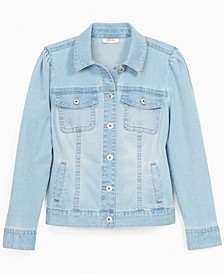 Puff-Shoulder Denim Jacket, Created for Macy's