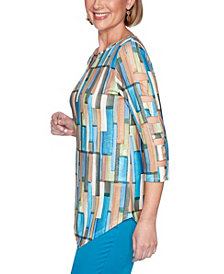 Alfred Dunner Women's Plus Size Colorado Springs Geometric Top