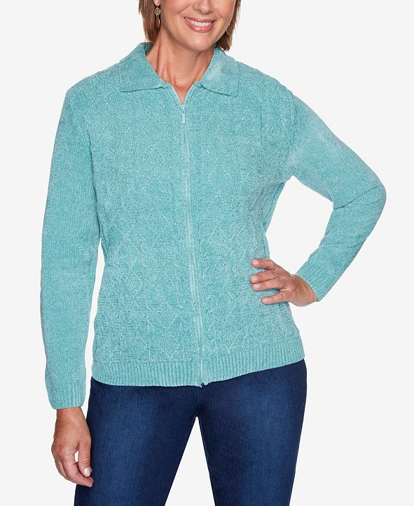 Alfred Dunner Women's Plus Size Classics Zip Chenille Cardigan