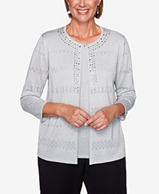 Women's Plus Size Classics Pointelle Two For One Sweater