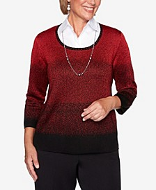 Women's Plus Size Classics Ombre Two For One Sweater