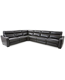 Gabrine 6-Pc. Leather Sectional with 2 Power Headrests, Created for Macy's