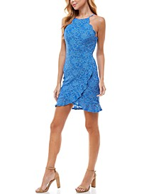 Juniors' Scalloped-Trim Ruffled Lace Dress